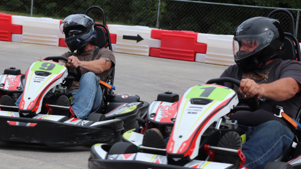 Neck and Neck Go-Kart race